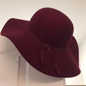 Burgundy Wide Brim Hat